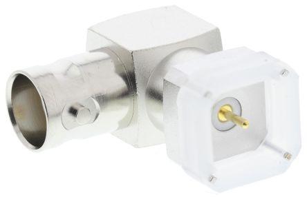 Telegartner Right Angle 50Ω PCB Mount BNC Connector, jack, Nickel, Through Hole Termination