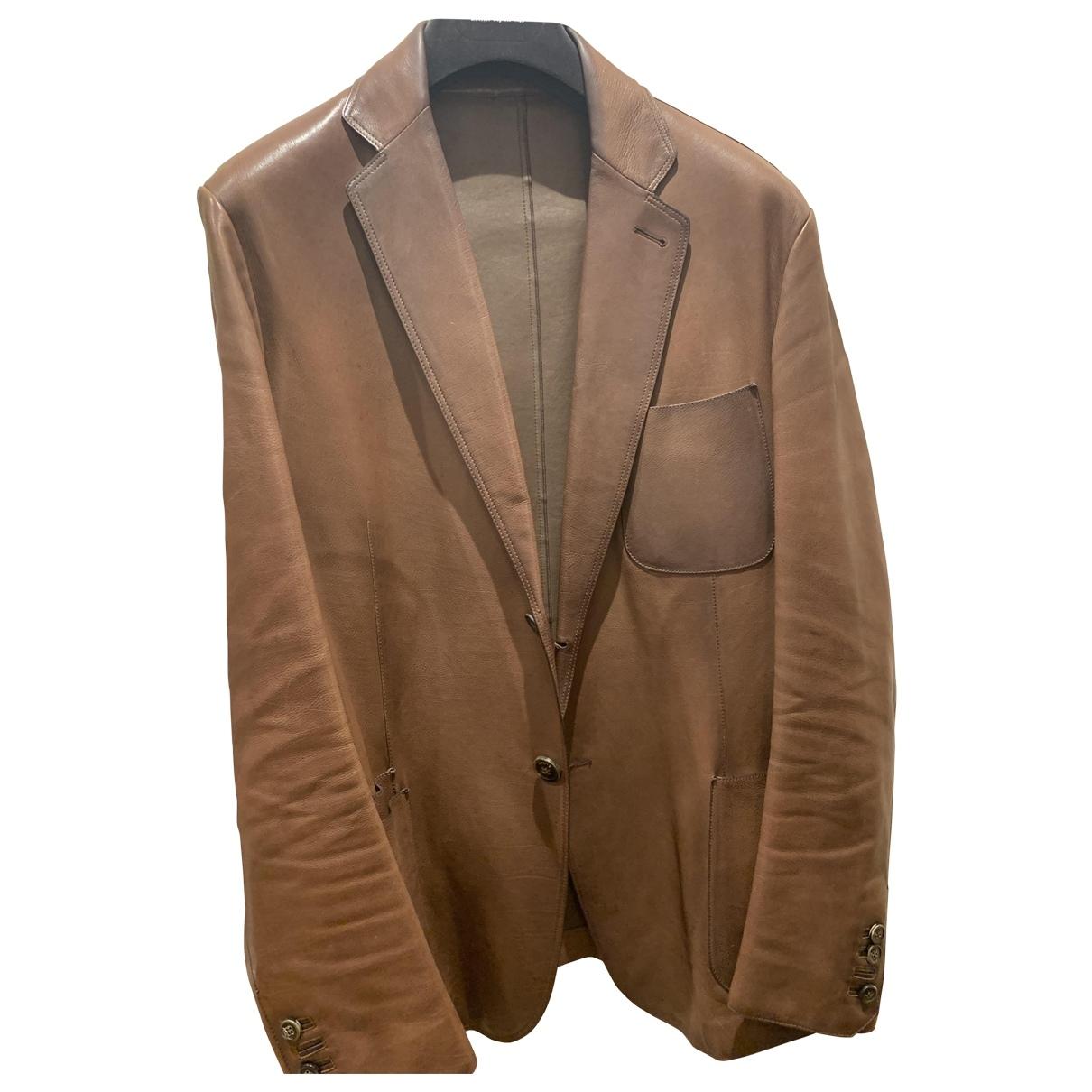 Berluti - Manteau   pour homme en cuir - marron