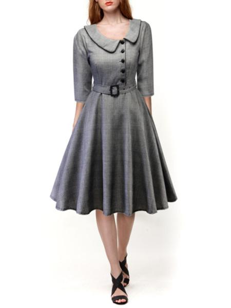 Milanoo Swing Dress 1950s Plaid Woman Half Sleeves Peter Pan Collar Dress