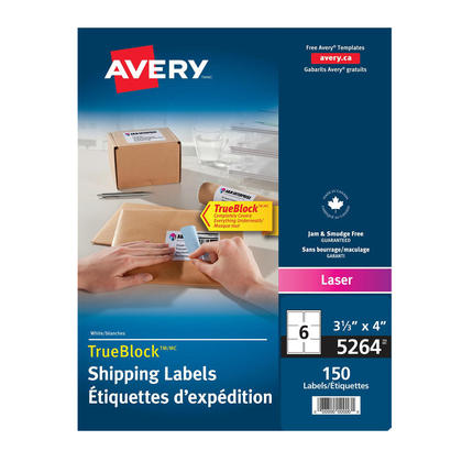 Avery@ Shipping Permanent Adhesive Laser Labels - Package of 25 sheets,4 x 3-1/3