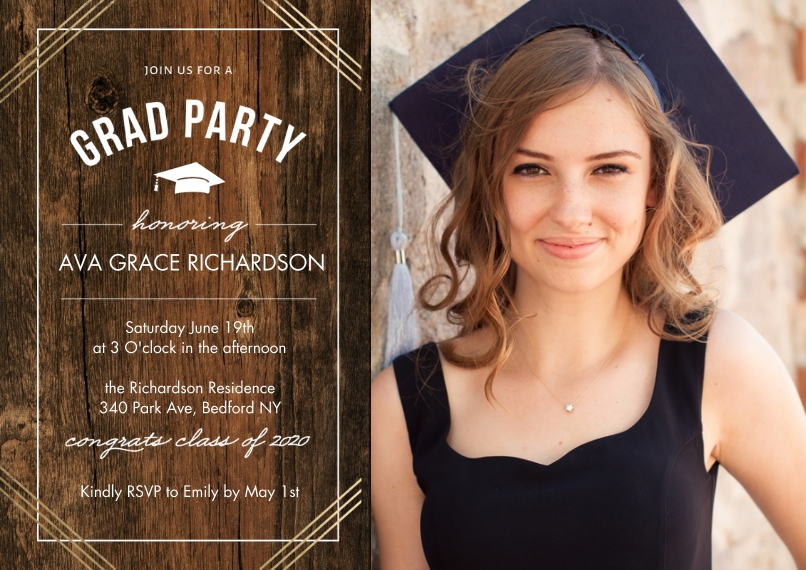 2020 Graduation Invitations 5x7 Cards, Premium Cardstock 120lb with Scalloped Corners, Card & Stationery -2020 Grad Party Honoring by Tumbalina