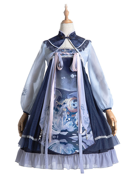 Milanoo Estilo chino Lolita JSK Dress Unicorn Bows Lolita Jumper Faldas