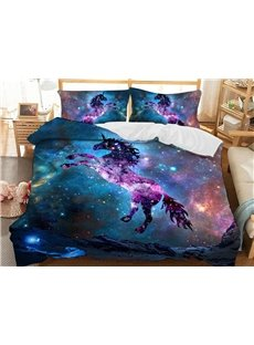 Jumping Unicorn in The Galaxy Soft 3D Printed Polyester 3-Piece Bedding Sets/Duvet Covers