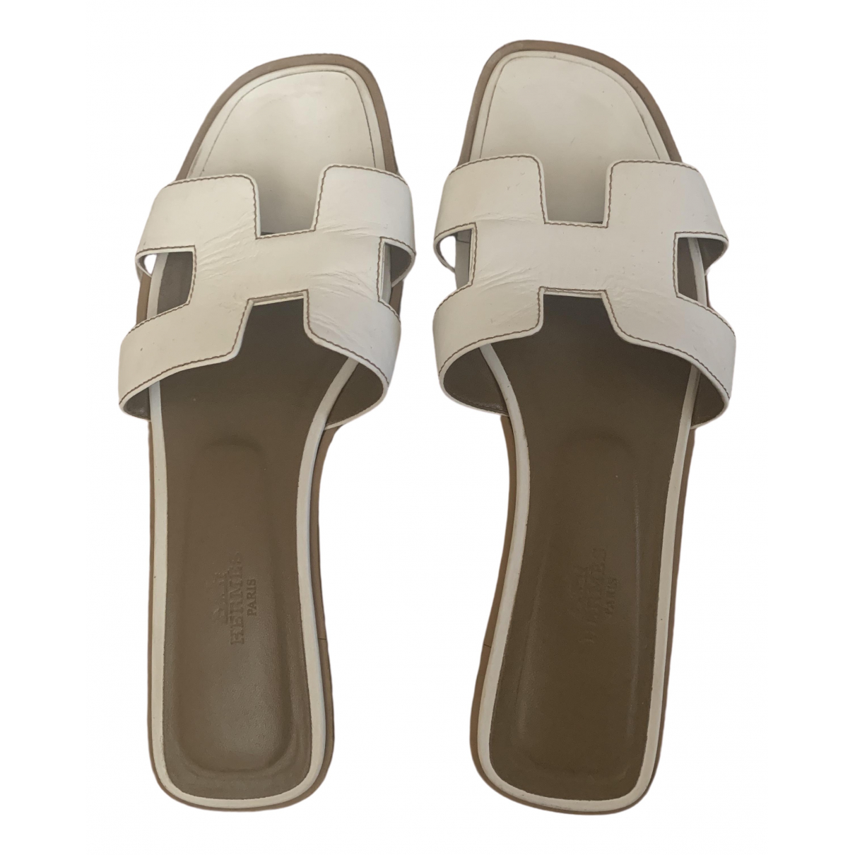 Hermès Oran White Leather Sandals for Women 39.5 EU