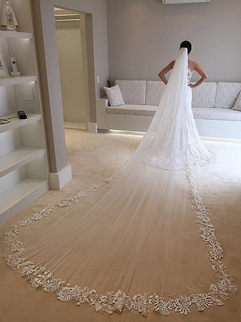 Ericdress Single Cathedral Long Royal Wedding Veil Lace Edge