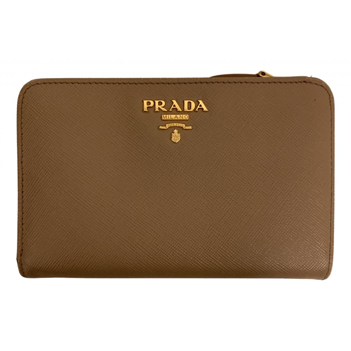 Prada - Portefeuille   pour femme en cuir - beige
