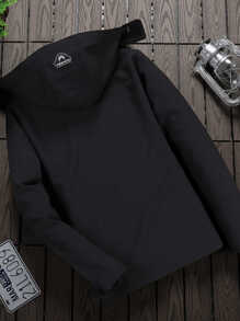 Men Patched Zip Detail Hooded Jacket
