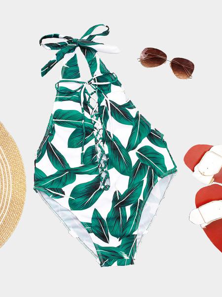 Yoins Random Leaf Print Lace-up Front Swimwear