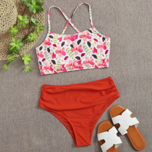 Floral Ruched High Waisted Bikini Swimsuit