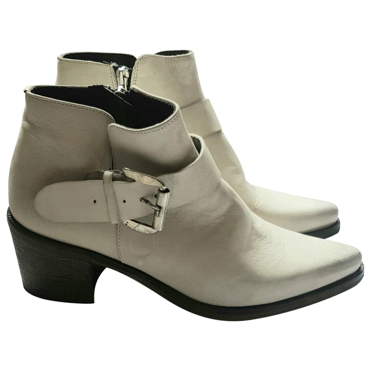 Buffalo - Boots   pour femme en cuir - ecru