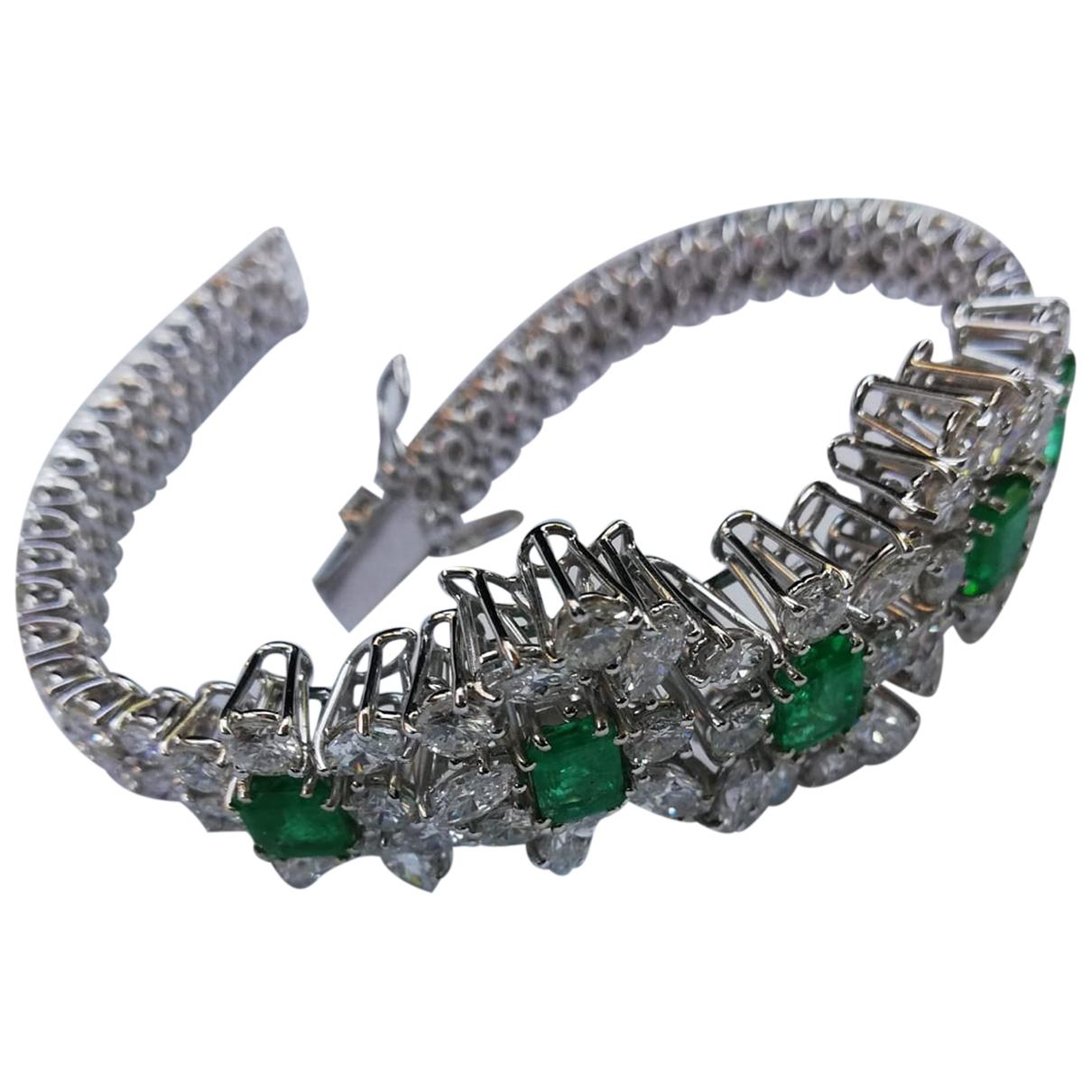 - Bracelet Emeraude pour femme en or blanc - vert