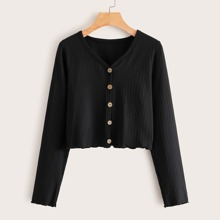 Ribbed Mock Button-Front Top
