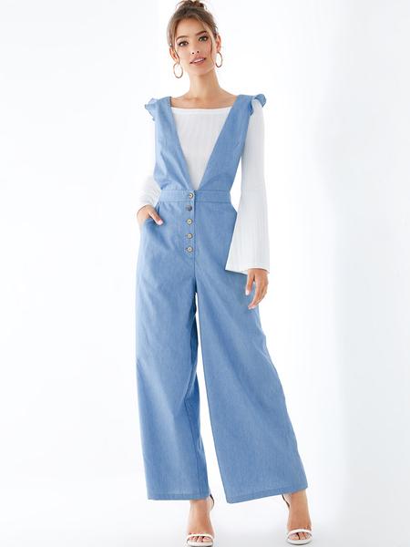 YOINS Blue Criss-cross Back Ruffle Trim Denim Jumpsuit