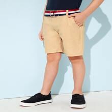 Toddler Boys Belted Slant Pocket Shorts