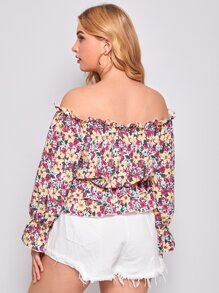 Plus Allover Floral Layered Ruffle Bardot Blouse