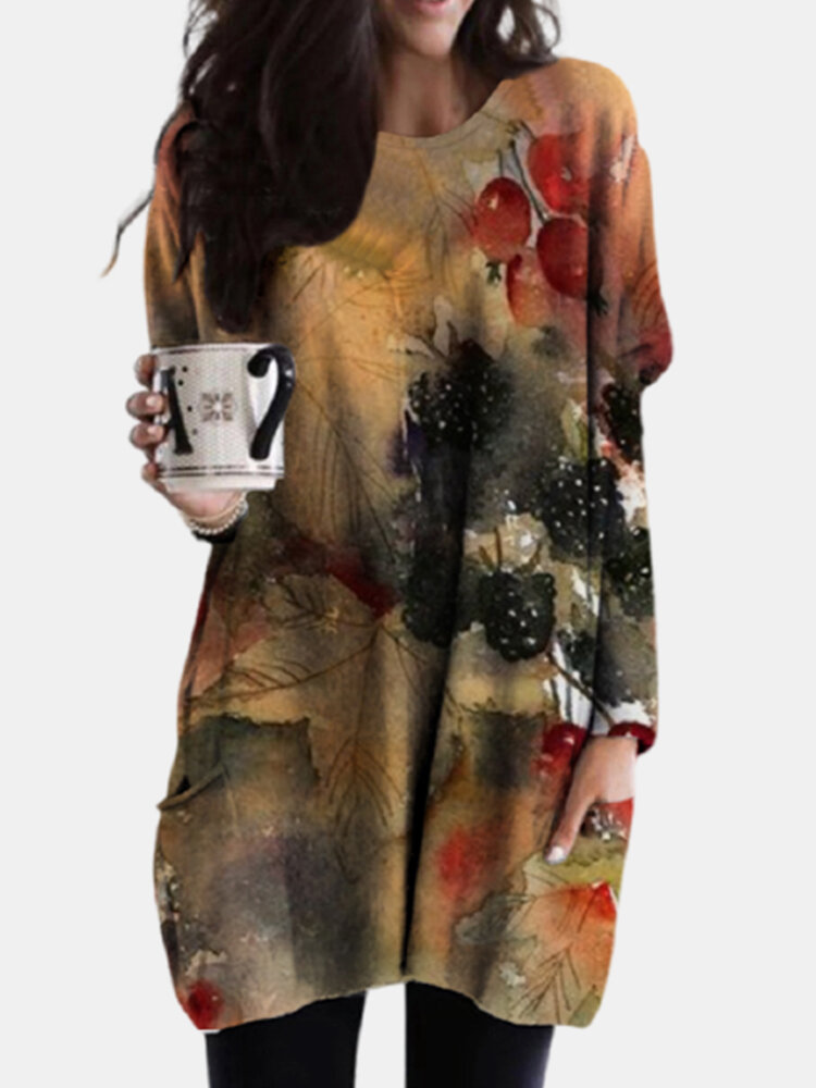 Art Illustration Printed Pockets Long Sleeve Casual Blouse