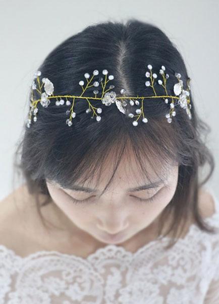 Milanoo Beach Wedding Headpieces Gold Rhinestone Lace Up Bridal Headband