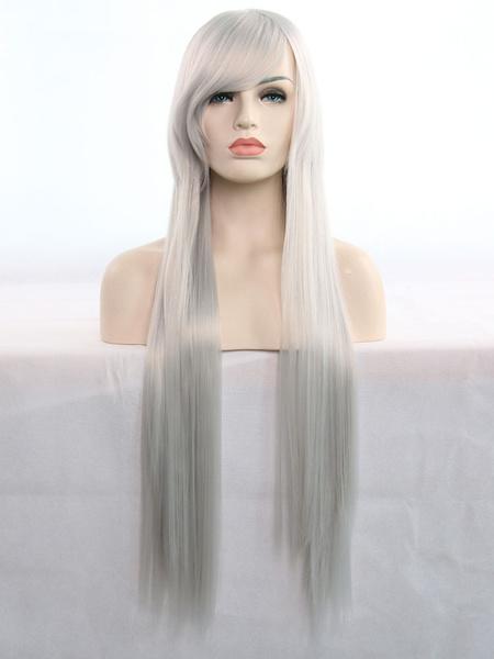 Milanoo Pelucas de pelo de Halloween pelucas sinteticas rectas largas rubias con flequillo
