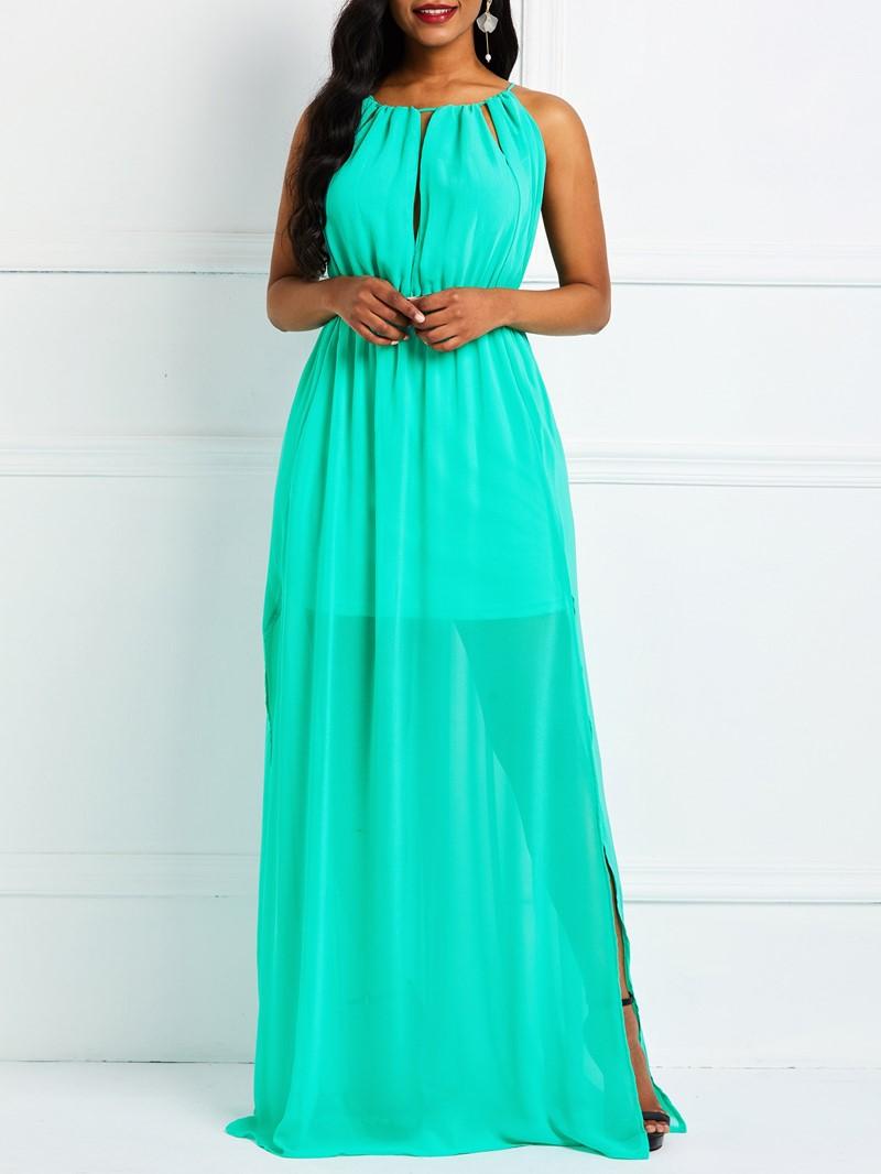 Ericdress Plain Sleeveless Floor-Length Split Sweet Pullover Dress