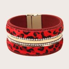Armband mit Strass Dekor und Leopard Muster