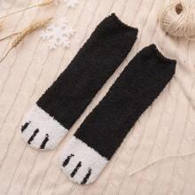 1pair Cartoon Pattern Fluffy Socks