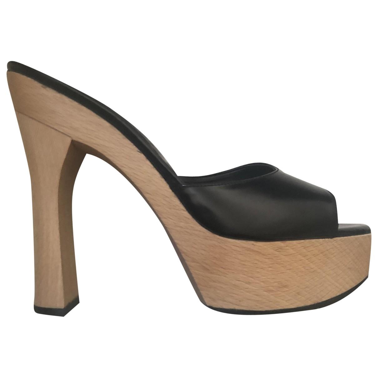 - Sabots   pour femme en cuir - noir