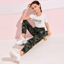 Girls Graphic Embroidery Camo Pants