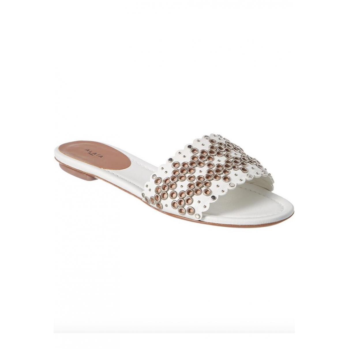 Alaia - Sandales   pour femme en cuir - blanc
