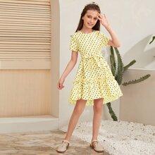 Kleid mit Raffungsaum, Klee Muster und Guertel
