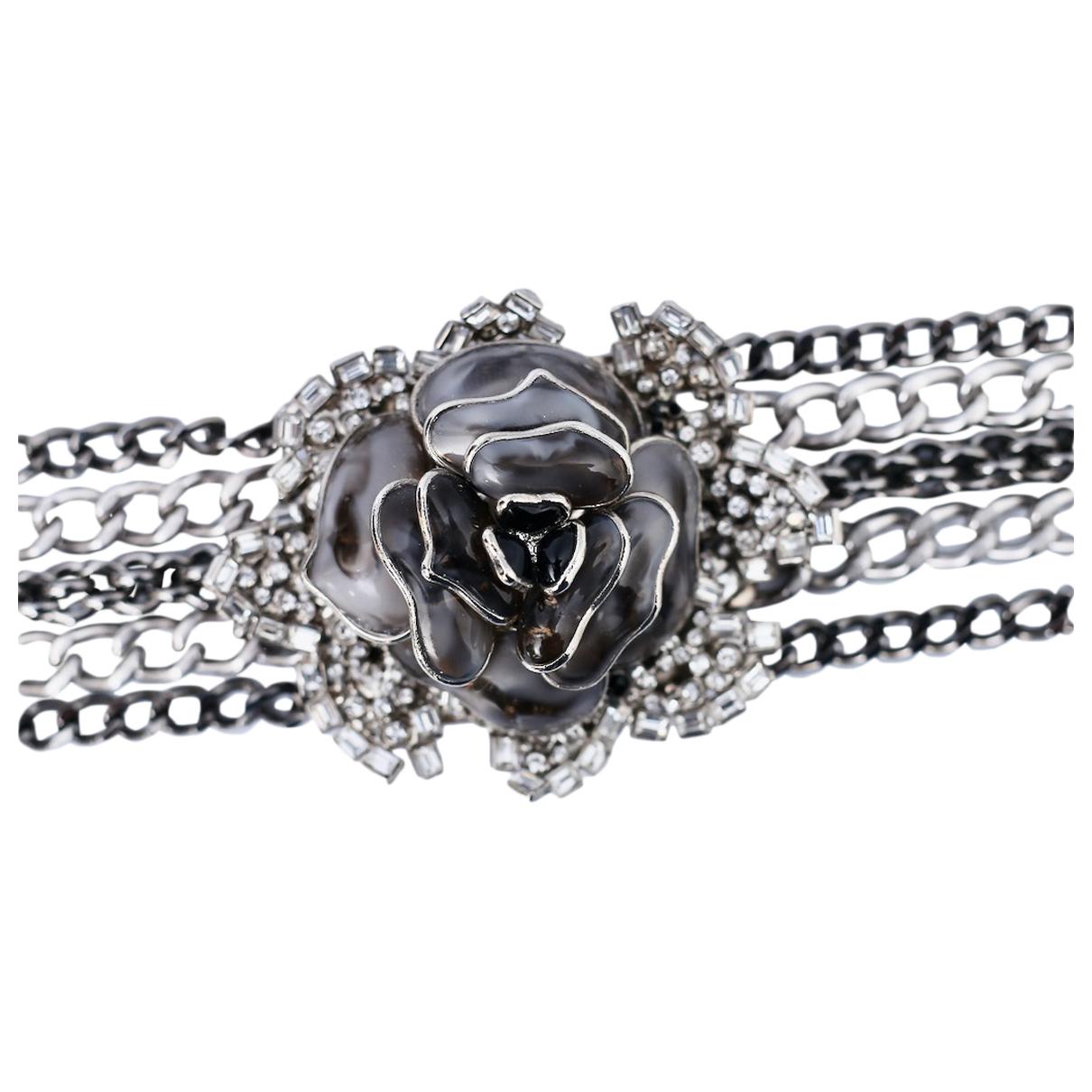Non Signé / Unsigned Motifs Floraux Grey Glass necklace for Women N