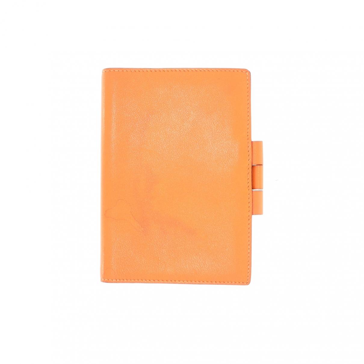 Hermes \N Accessoires und Dekoration in  Orange Leder