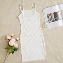 Rippenstrick Slip Kleid mit gekraeuseltem Saum