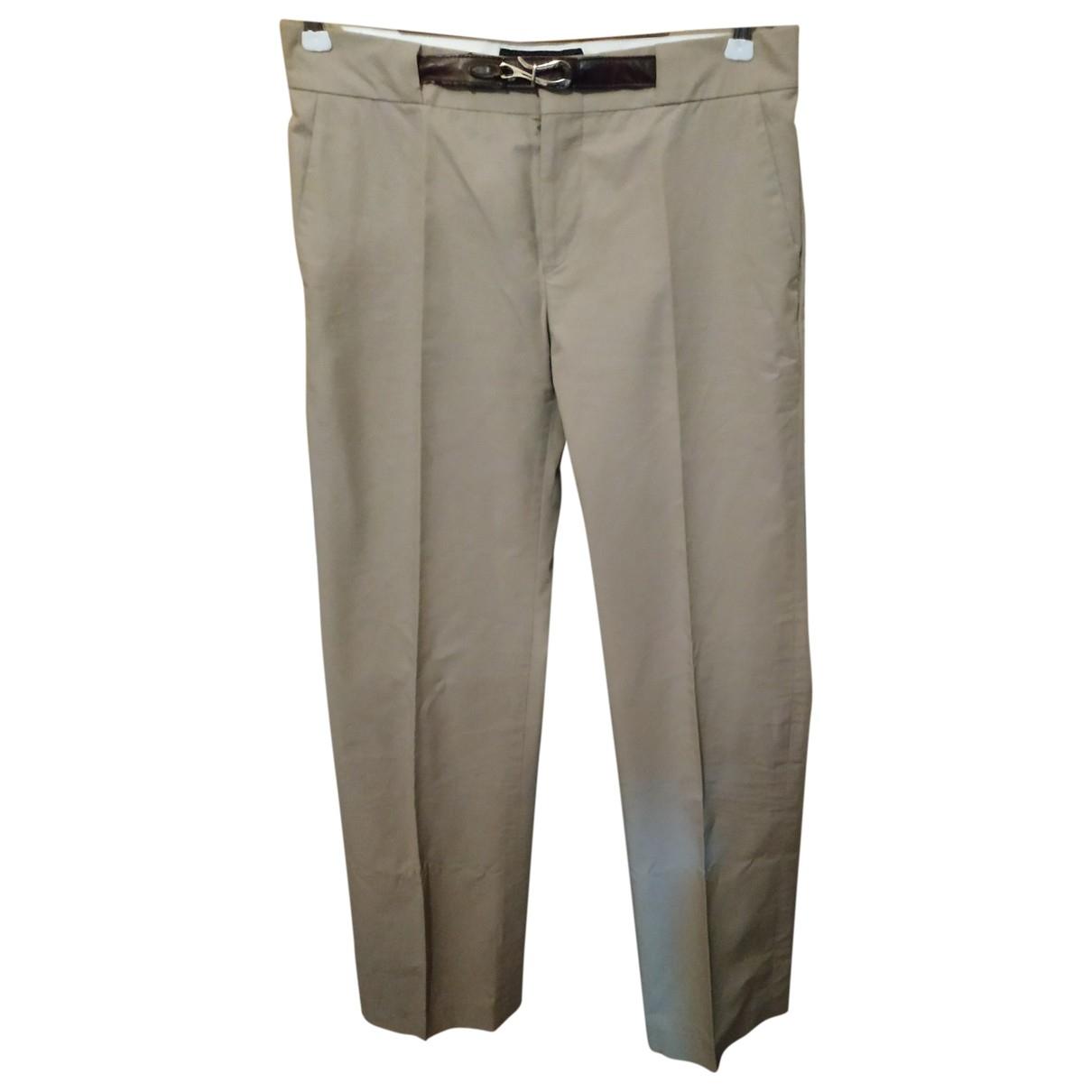 Gucci \N Beige Cotton Trousers for Women 40 IT