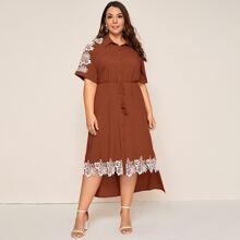 Plus Guipure Lace Trim Cuffed Batwing Sleeve Dip Hem Shirt Dress