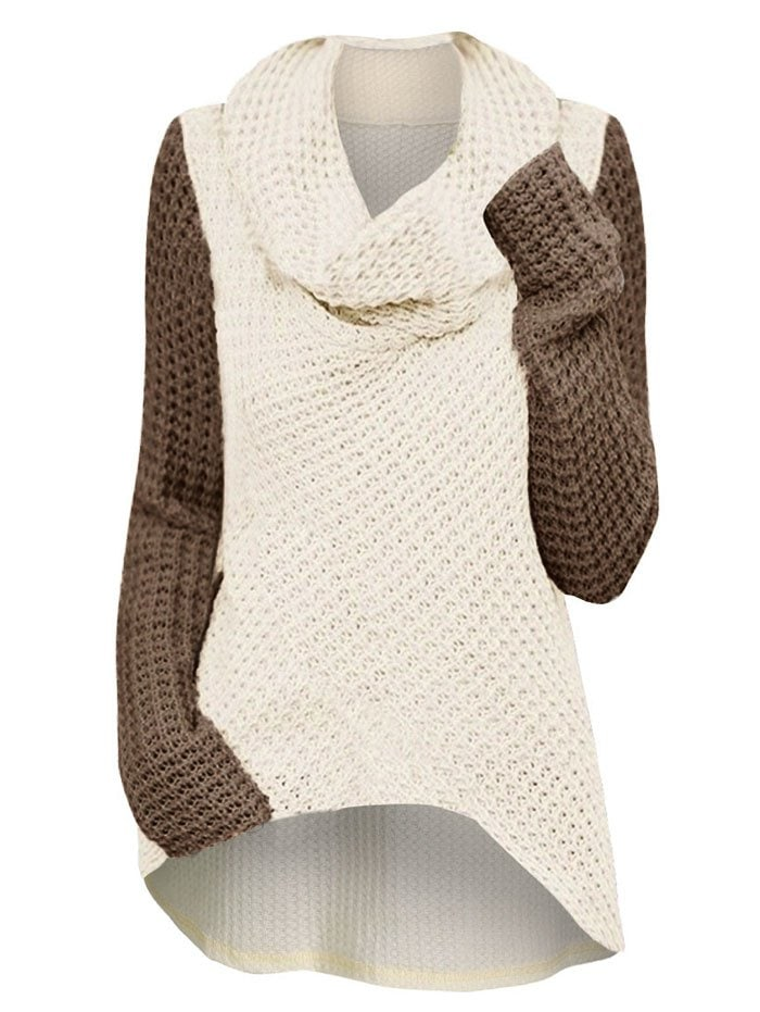 Cowl Neck High Low Two Tone Plus Size Knitwear