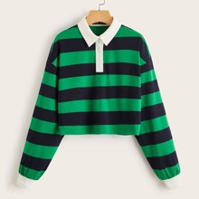 Collared Buttoned Front Striped Pullover