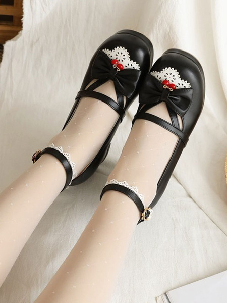 Milanoo Sweet Lolita Footwear Bows Cherry Round Toe PU Leather Lolita Shoes