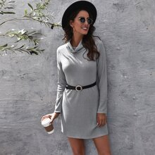 Solid Cowl Neck Dress Without Belt