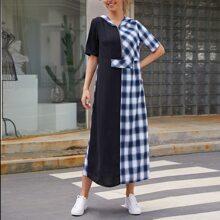 Kleid mit Reissverschluss vorn, Farbblock, Plaid Muster und Kapuze