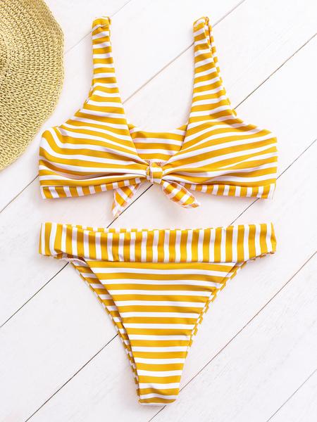 Yoins White & Yellow Stripe Scoop Neck Twist Bikini