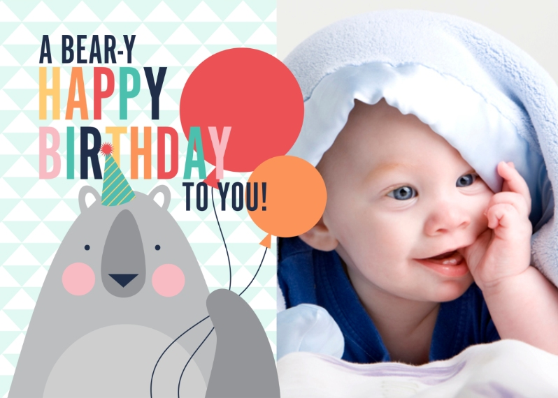 Kids Birthday Greeting Cards Mail-for-Me Premium 5x7 Folded Card , Card & Stationery -Beary Happy Birthday