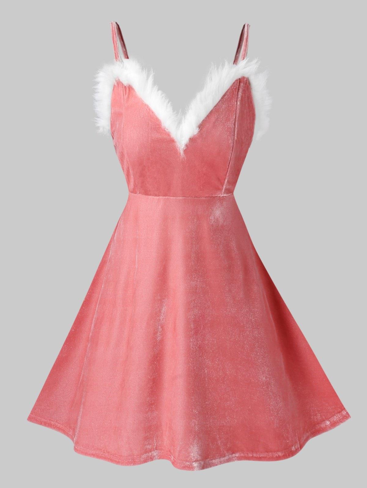 Plus Size Faux Fur Velvet Lingerie Babydoll Set