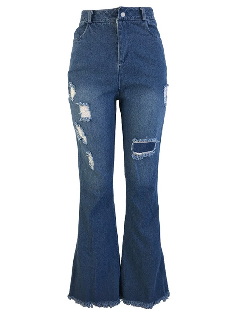 Ericdress Hole Bellbottoms Slim High Waist Jeans