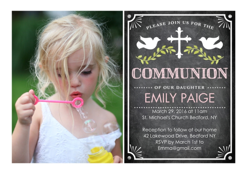 Communion Flat Glossy Photo Paper Cards with Envelopes, 5x7, Card & Stationery -Communion Doves with Cross