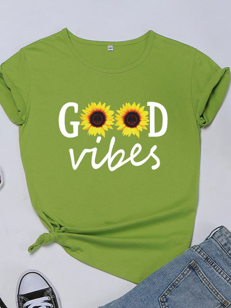 Milanoo Graphic T Shirt Sunflower Short Sleeves Printed Jewel Neck Cotton Tee