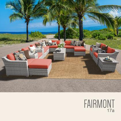 FAIRMONT-17a-TANGERINE Fairmont 17 Piece Outdoor Wicker Patio Furniture Set 17a with 2 Covers: Beige and