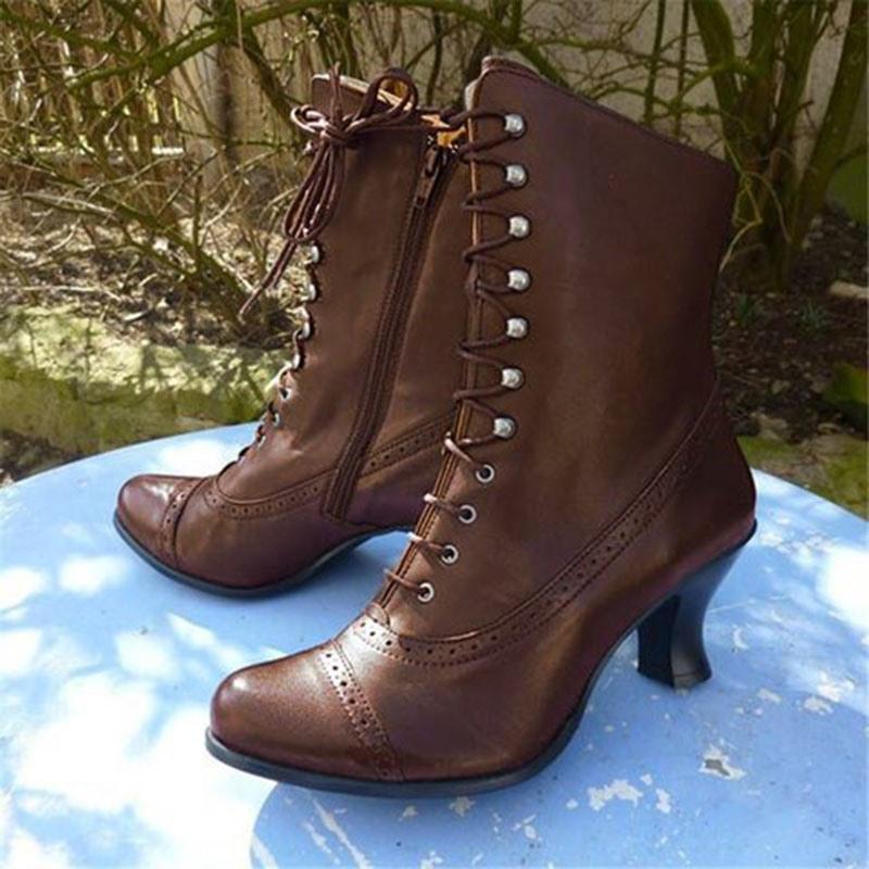 Ericdress Chunky Heel Side Zipper Plain Cotton Boots