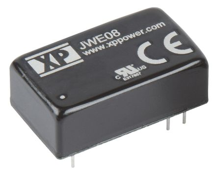 XP Power JWE08 8W Isolated DC-DC Converter Through Hole, Voltage in 18 → 75 V dc, Voltage out ±15V dc