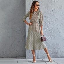 A-Linie Kleid mit Karo Muster und Schlitz hinten
