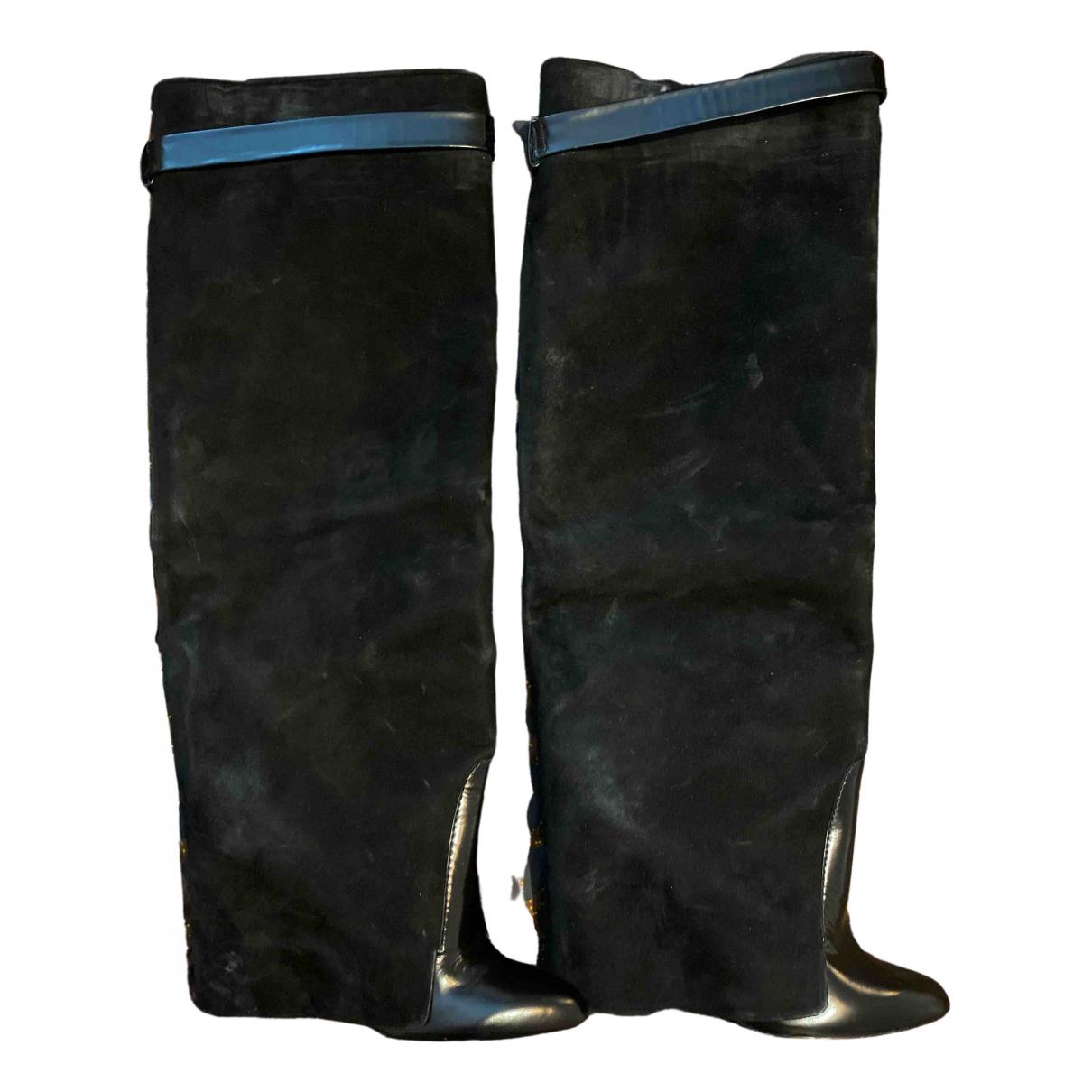Givenchy \N Stiefel in  Schwarz Veloursleder